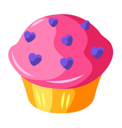 cupcake with hearts vector image