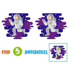 Cute astronaut find 10 differences vector