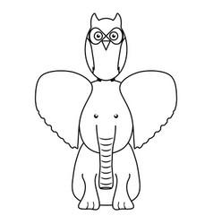 cute elephant and owl woodland animals vector image