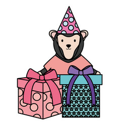 Cute monkey with gifts in birthday party vector