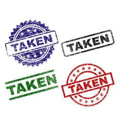 Damaged textured taken stamp seals vector