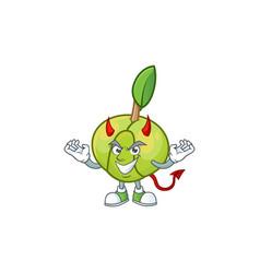 Devil elephant apple cartoon on white background vector