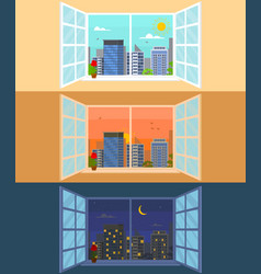 different times of day set concept card poster vector image