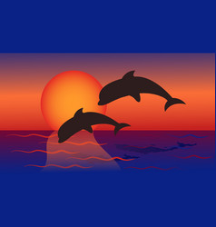 Dolphins jump into the sea against the background vector