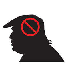 Donald trump silhouette with anti sign vector