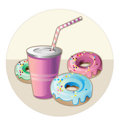 drink and donuts vector image
