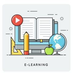 E-learning online education flat line art style vector