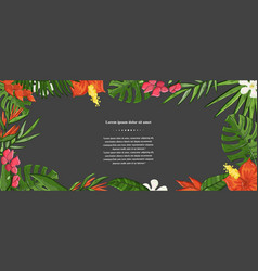 exotic flower background on a darck jungle vector image