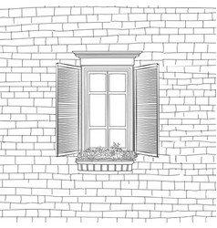 Facade wall with window house engraved background vector