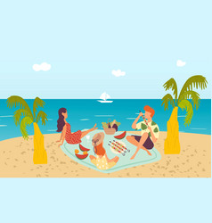 family at tropical beach picnic near sea enjoying vector image