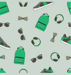 fashion seamless pattern backpacks vector image