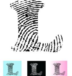 Fingerprint Alphabet Letter L vector