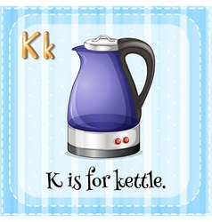 Flashcard letter k is for kettle vector