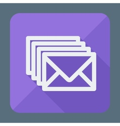 Four envelopes square flat icon with long shadow vector image