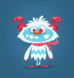 Funny cartoon monster bigfoot or yeti charater vector