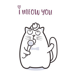 funny cat saying meow for greeting card design vector image
