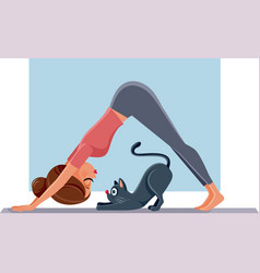 Funny girl exercising next to her cat on yoga mat vector