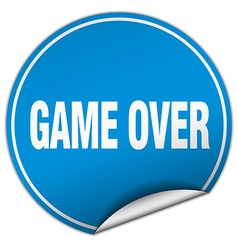 Game over round blue sticker isolated on white vector