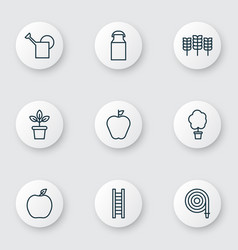 Garden icons set with bailer ladder plant pot vector