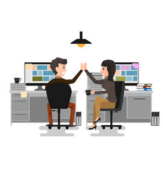 Give me high-five two business man and woman vector