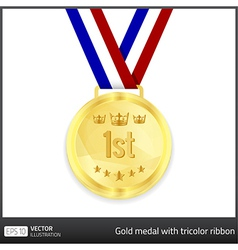 Gold medal with tricolor ribbon vector image