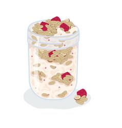 Granola muesli raspberries nuts with yogurt vector