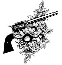 Guns on the flower and vector