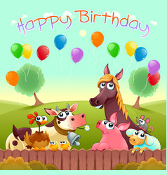 Happy birthday card with cute farm animals vector