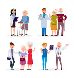 Happy healthy senior people and doctors having vector