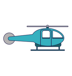 helicopter aircraft sideview blue lines vector image