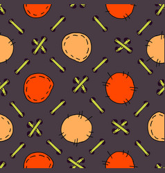 lacing patchwork doodle seamless pattern hand vector image