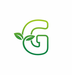 letter g leaf growing buds shoots logo icon vector image