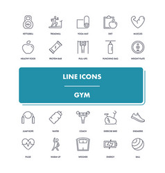 Line icons set gym vector