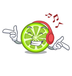 Listening music green lemon slices in character vector