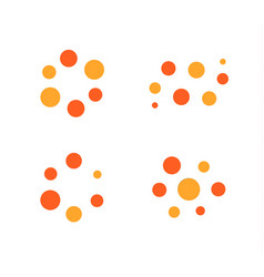 Loading process icon set orange and red vector