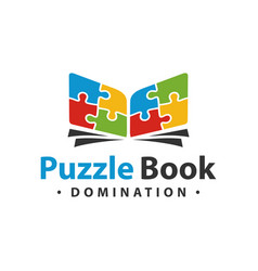 Logo design puzzle book vector