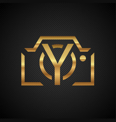 logo of the golden camera with the letter y in the vector image