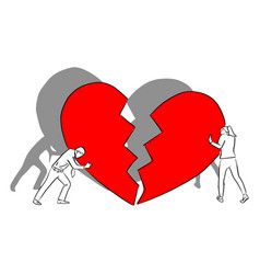 Man and woman with big red broken heart vector