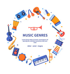 Music genres - colorful flat design style banner vector