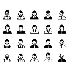 office people icons set vector image