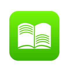 old open magic book icon green vector image