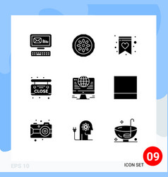 Pack 9 modern solid glyphs signs and symbols vector