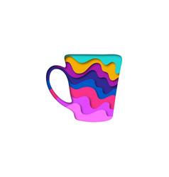 paper cut shape cup 3d origami vector image