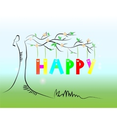 Picture of tree with text vector image