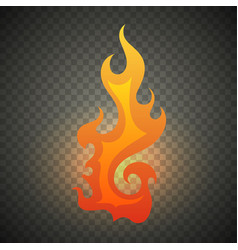 realistic fire flames isolated on transparent vector image