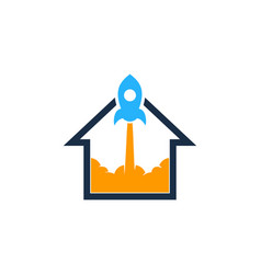 rocket house logo icon design vector image
