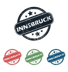 Round Innsbruck city stamp set vector