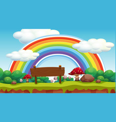 scene with rainbow in park vector image