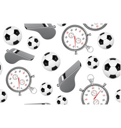 seamless pattern of soccer ball whistle with a vector image