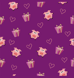 seamless romantic pattern with pig vector image
